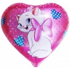 Шар (18''/46 см) Сердце, Кошка с бантиком