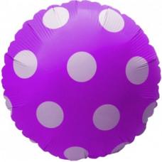 Воздушный шар (18''/46 см) Круг, Большие точки, Фиолетовый