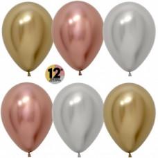 Шар (12''/30 см) Reflex, Зеркальный блеск, Ассорти Делюкс (968/970/981), хром