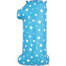Воздушный шар (40''/102 см) Цифра, 1, Синий фейерверк