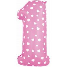 Воздушный шар (40''/102 см) Цифра, 1, Розовый фейерверк