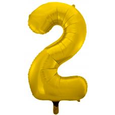 Воздушный шар (34''/86 см) Цифра, 2, Золото фейерверк