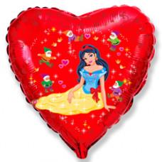 Воздушный шар фольгированный (18''/46 см) Сердце, Белоснежка и гномы, Красный фейерверк