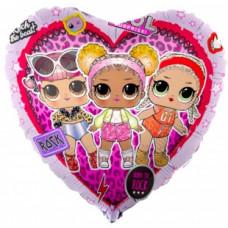 Шар (18''/46 см) Сердце, Кукла ЛОЛ (LOL), Стильные подружки, Розовый