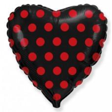Шар (18''/46 см) Сердце, Красные точки, Черный