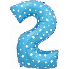 Воздушный шар (40''/102 см) Цифра, 2, Синий фейерверк