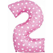 Воздушный шар (40''/102 см) Цифра, 2, Розовый фейерверк