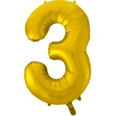 Воздушный шар (34''/86 см) Цифра, 3, Золото фейерверк