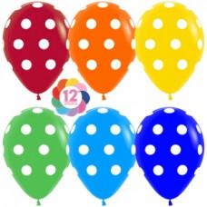 Воздушный шар с рисунком (12''/30 см) Точки, Ассорти, пастель