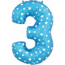 Воздушный шар (40''/102 см) Цифра, 3, Синий фейерверк
