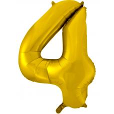 Воздушный шар (34''/86 см) Цифра, 4, Золото фейерверк