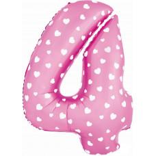 Воздушный шар (40''/102 см) Цифра, 4, Розовый фейерверк