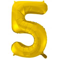 Воздушный шар (34''/86 см) Цифра, 5, Золото фейерверк