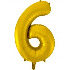 Воздушный шар (34''/86 см) Цифра, 6, Золото