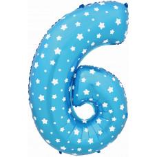 Воздушный шар (40''/102 см) Цифра, 6 и 9, Синий фейерверк