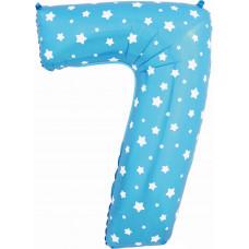 Воздушный шар (40''/102 см) Цифра, 7, Синий фейерверк