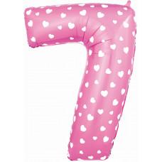 Воздушный шар (40''/102 см) Цифра, 7, Розовый фейерверк
