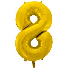 Воздушный шар (34''/86 см) Цифра, 8, Золото фейерверк