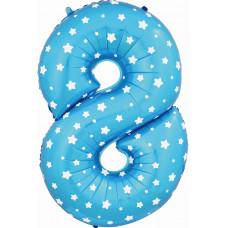 Воздушный шар (40''/102 см) Цифра, 8, Синий фейерверк