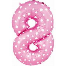 Воздушный шар (40''/102 см) Цифра, 8, Розовый фейерверк