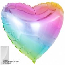Шар (18''/46 см) Сердце, Нежная радуга, Градиент фейерверк
